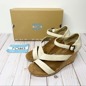 TOMS Clarissa Natural Linen Cork Wedge Sandals 7